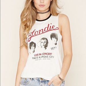 Blondie Velvet Graphic Band Muscle Tee Tank Top L